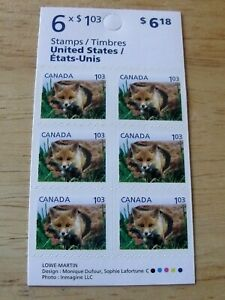 CANADA SCOTT BK441 #2430a BABY WILDLIFE RED FOX BOOKLET PANE OF 6 STAMPS MNH