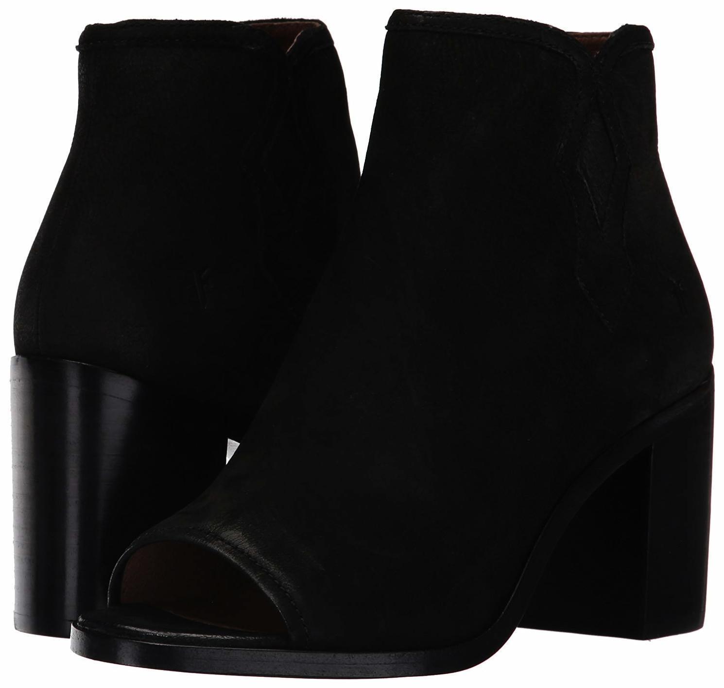 Frye para para para mujer Danica Peep Toe botaie botas Negro Nubuck 7.5 Nuevo En Caja  alta calidad