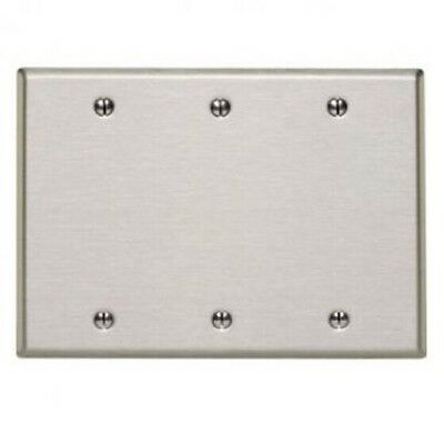 Leviton 84035-40 3-Gang No Device Blank Wallplate Stainless Steel Strap Mount