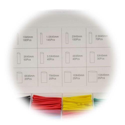 Schrumpfschlauch mit Sortiment-Box Set 750-teilig bunt 2:1 Schrumpfschläuche