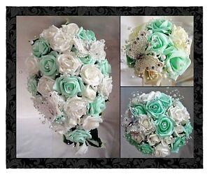 wedding flowers brides bridesmaids bouquets butterfly mint green