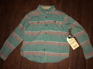 New-Burton-Girls-Grace-Woven-Monument-Laurel-Stripe-Button-Casual-Shirt-Top-XS
