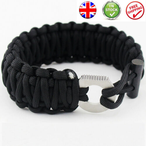 Survival Fire Starter Paracord Lanyard Bracelet Flint And Steel EDC Camping Tool