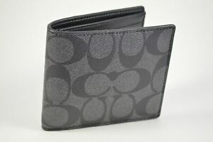 Coach-F75083-Charcoal-Black-Double-Billfold-Coated-Canvass-Men-039-s-Wallet