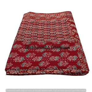 Ethnic-Cotton-Kantha-Quilts-Indian-Bedspread-Throw-Ajrakh-Blanket-Queen-Size