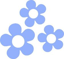 60's Flower Vinyl Decals Stickers for Car or Van (Baby Blue)