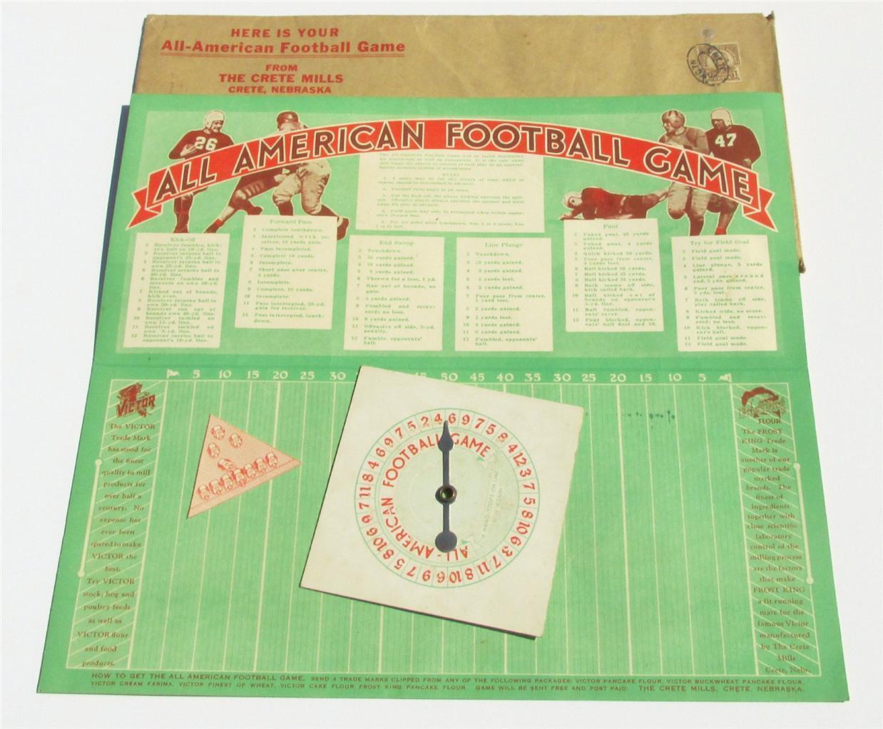 RARE  Vintage Ancien Antique Années 1930 Football Game  RARE  Victor farine Publicité
