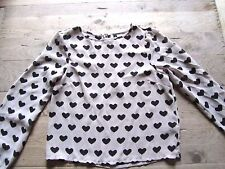 H & M DIVIDED GREY/BLACK PATTERN BLOUSE/TOP SIZE 8 ZIP AT THE BACK PART LINED