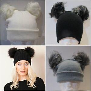 USA FAST SHIP Winter Double Pom Pom Faux Fur Beanie Hat Celeb Style ... af0aef0e099