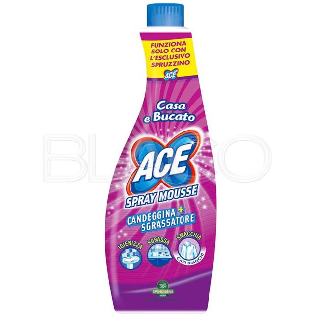 Mocio Vileda Con Spruzzino.Ace Spray Mousse Ricarica Candeggina Sgrassatore Prodotto Per Il Bucato 650 Ml