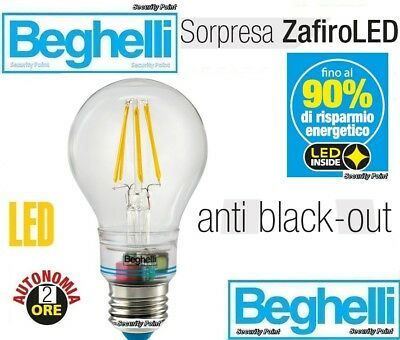 LAMPADA BEGHELLI GOCCIA LED SORPRESA ZAFIRO 6W 60 230V E27 810LM 2700K EMERGENZA