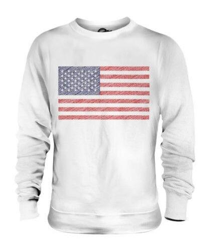 USA Scribble Flag Unisex Pullover Top Geschenk Vereinigte Staaten America