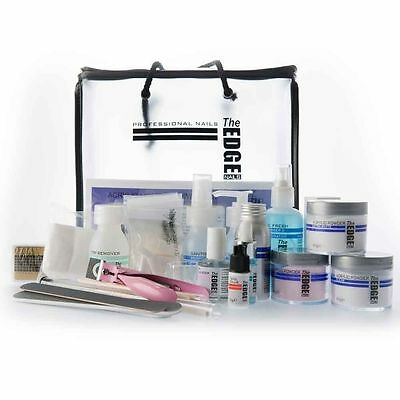 THE EDGE NAIL ACRYLIC LIQUID & POWDER STARTER KIT false tips brush files student