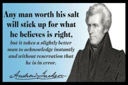 Andrew Jackson 7 Quote Man Cave DECOR SIGN 4x6 magnet Refrigerator Fridge TOOL