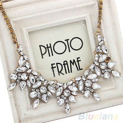 New Fashion Luxury Multi Clear Crystal Drop Flower Statement Choker Bib Necklace