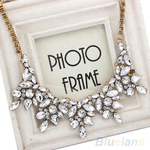 New Fashion Luxury Multi Clear Crystal Drop Flower Statement Choker Bib Necklace