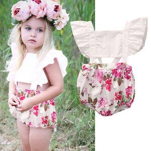 ea11bd5ffa57 Kids Newborn Baby Girls Floral Romper Jumpsuit Bodysuit Outfits ...