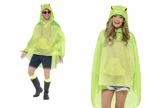 Ladies Mens Unisex Animal Ponchos Showerproof Festival Adult Fancy Dress Frog