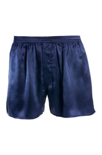 M satin 5 superior NATURALS ® Blu 100/% seta Uomo Boxershorts