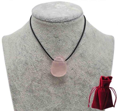 Geschenkset Lederkette mit Rosenquarz Tropfen Anhänger 3 cm Edelstein Kette rosa