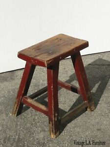 Vintage-French-Country-Farmhouse-Rustic-Red-Stool