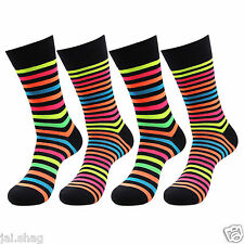 Mens Contrast Colour Branded Socks Heel Toe 4 Pair Pack Cotton Socks