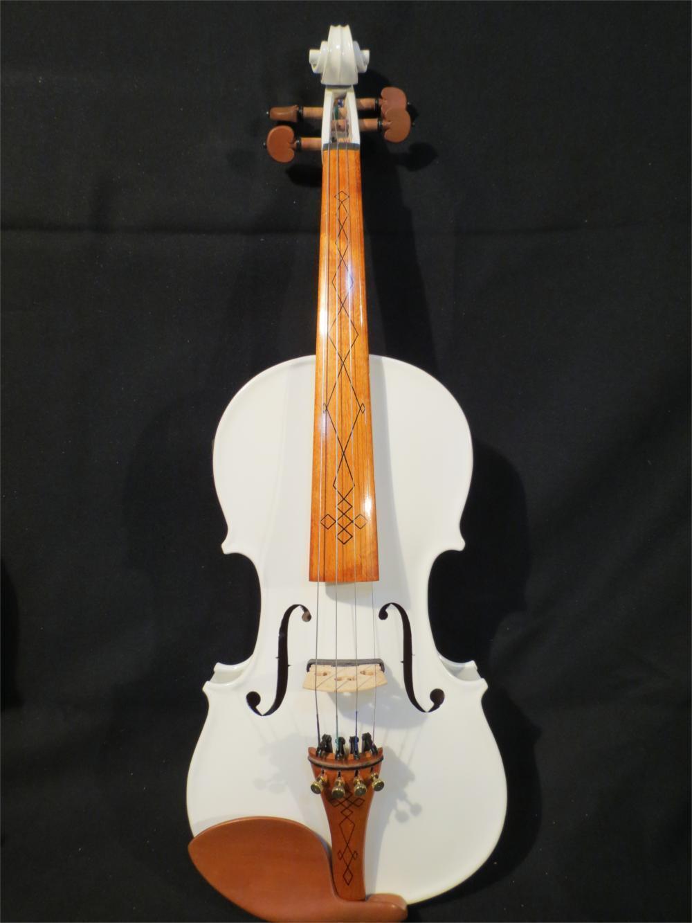 Beautiful white color New model 3 4 electric violin +Acoustic violin