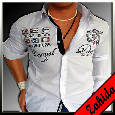 """zahida ""camicia Manica Lunga Camicie Uomo Bianco Party Club Polo Party S M L Xl Xxl Nuovo-mostra Il Titolo Originale"