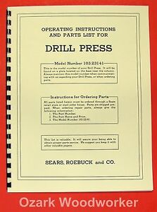 CRAFTSMAN-103-23141-Drill-Press-Operator-039-s-amp-Part-Manual-0171