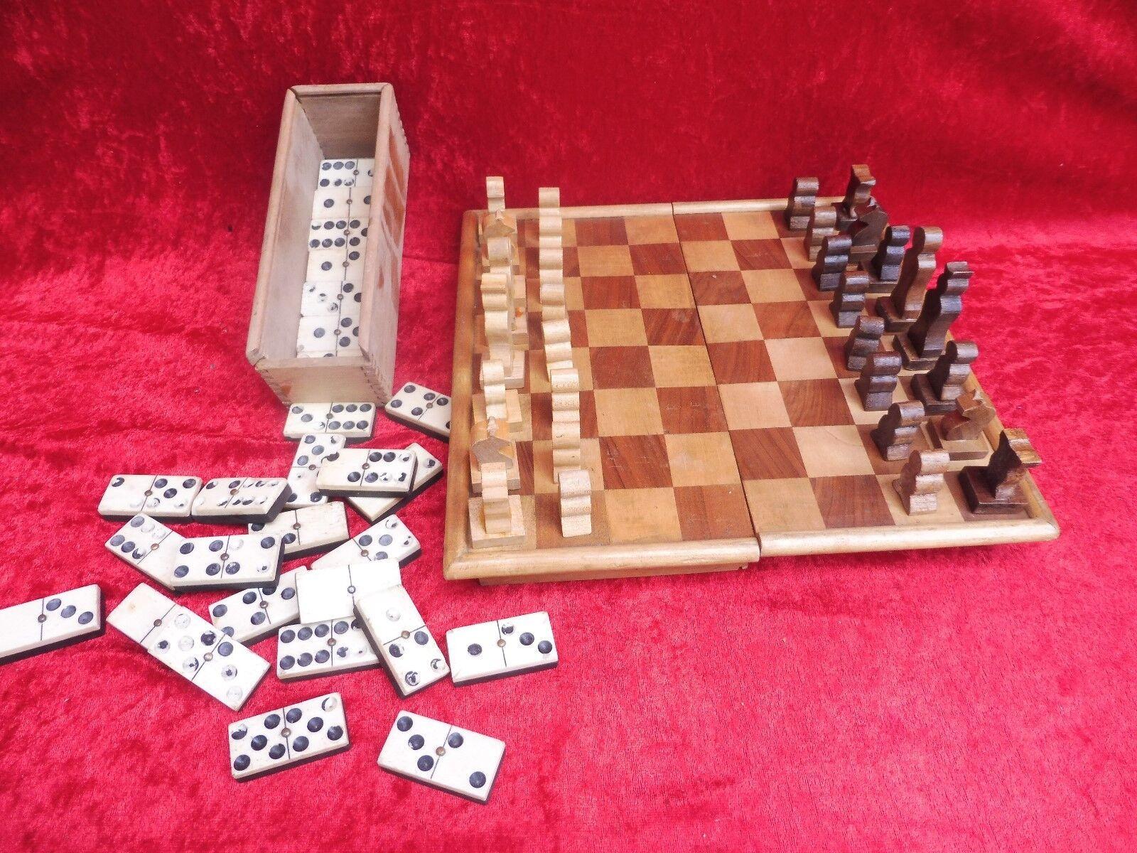 2 Belle, Antique Jeux __ Échec Échec Échec et Domino __ Bois, OS __ 8bb3eb