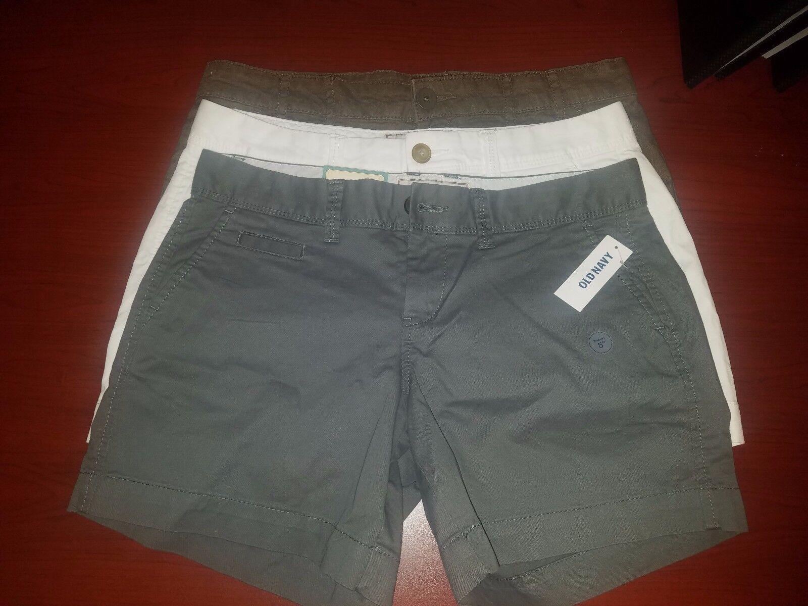 NWT - shorts 5 inch inseam Gap Old Navy Linen Cotton White   Grey   brown Sz 2 4