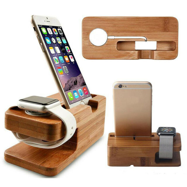 Bamboo Wood Charging Dock Stand Holder For iWatch Apple Watch & Apple iPhone