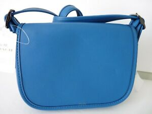 Coach-VERY-SMALL-1941-Lapis-Blue-Leather-Saddle-Bag-Shoulder-Cross-body-Bag