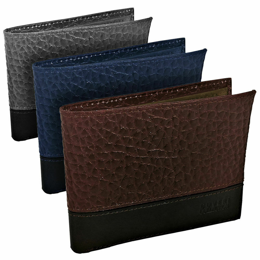 Wallet COVERI Mens Real Leather with Card Holder Blue Brown Grey Black