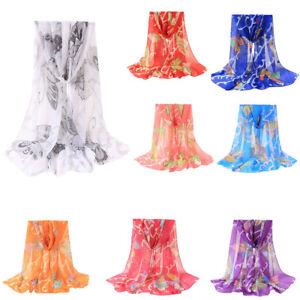1X-Trendy-Women-Chiffon-Butterflies-Printing-Long-Soft-Wrap-Scarf-Shawl-Scarves
