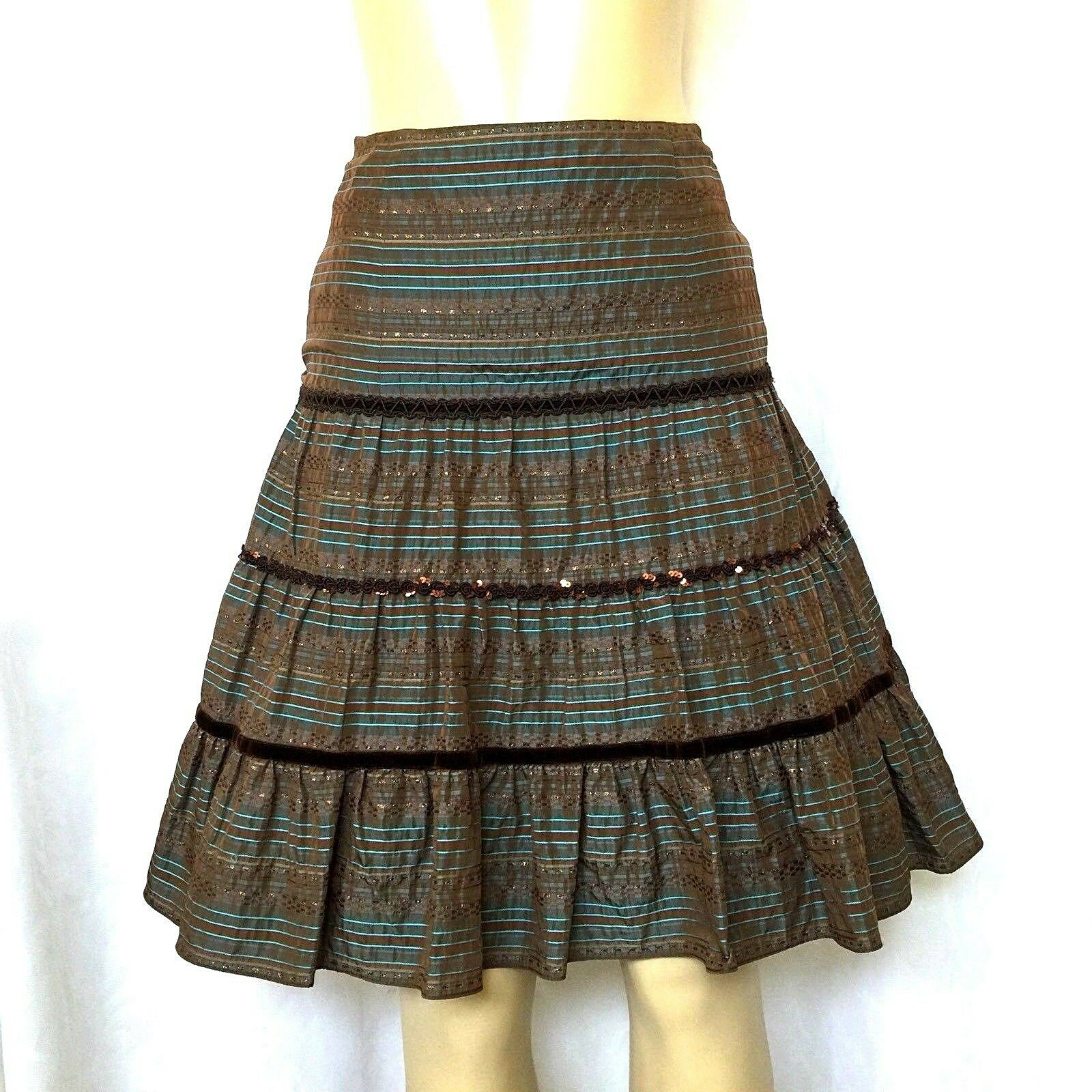 Nanette Lepore Skirt A line Striped Brown bluee Sequin Boho S 4 Knee Length Lined