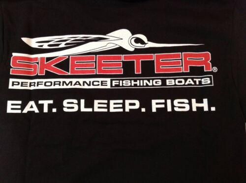 NEW Skeeter Boats, Black Cotton Tshirt with Eat.Sleep.Fish Skeeter Bug Logo