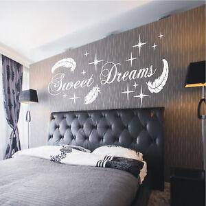 Wandtattoo Sweet Dreams Federn Sterne Schlafzimmer Deko