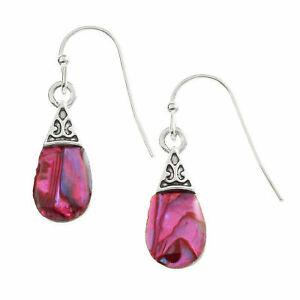Teardrop-Earrings-Pink-Paua-Abalone-Shell-Silver-Fashion-Jewellery-20mm-Drop