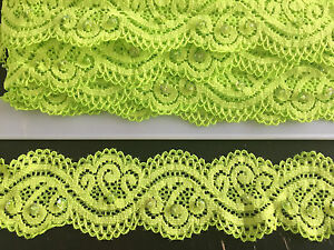 WHOLESALE 20 M LIME GREEN STRETCH LACE RIBBON TRIM WITH SEQUINS 45MM WIDE - London, Hertfordshire, United Kingdom - WHOLESALE 20 M LIME GREEN STRETCH LACE RIBBON TRIM WITH SEQUINS 45MM WIDE - London, Hertfordshire, United Kingdom