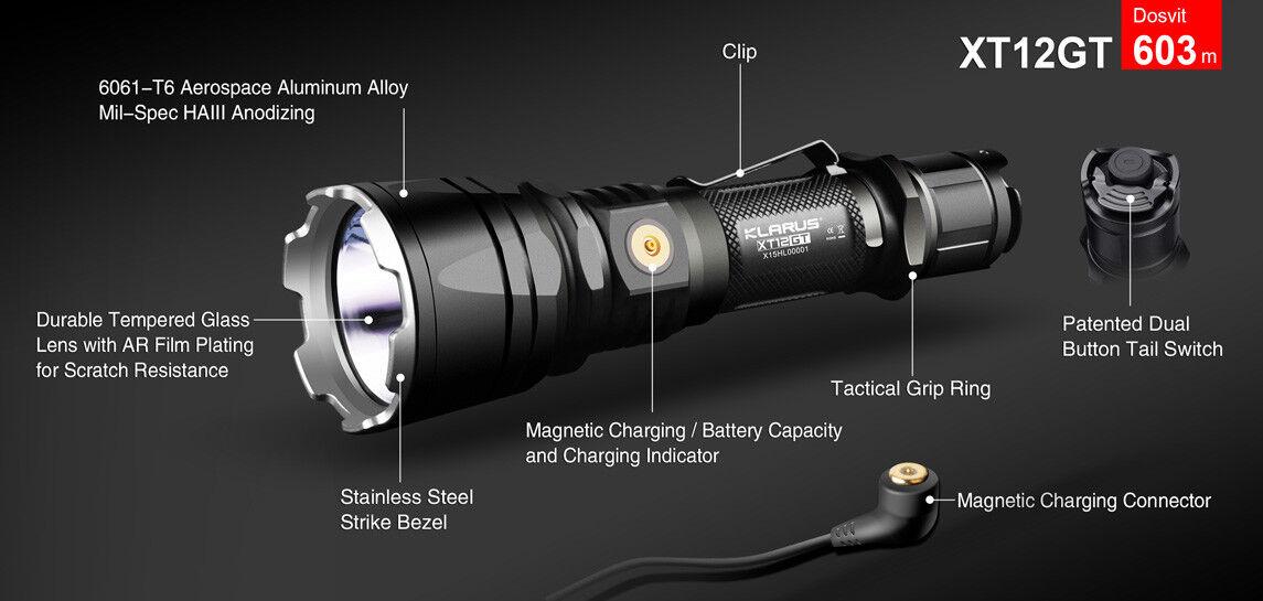 New Klarus XT12GT USB charge Cree XPH35 HI HI HI D4 1600 Lumens LED Flashlight w18650 4eb59a