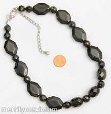 Chico's Signed Necklace Silver Tone Chunky Smooth Faceted GLASS Black Beads