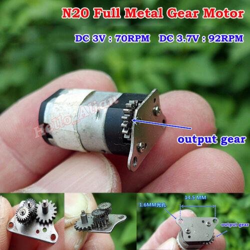 DC 3V 3.7V 92RPM Micro Mini N20 Full Metal Gear Reducer Motor Gear Wheel DIY Toy