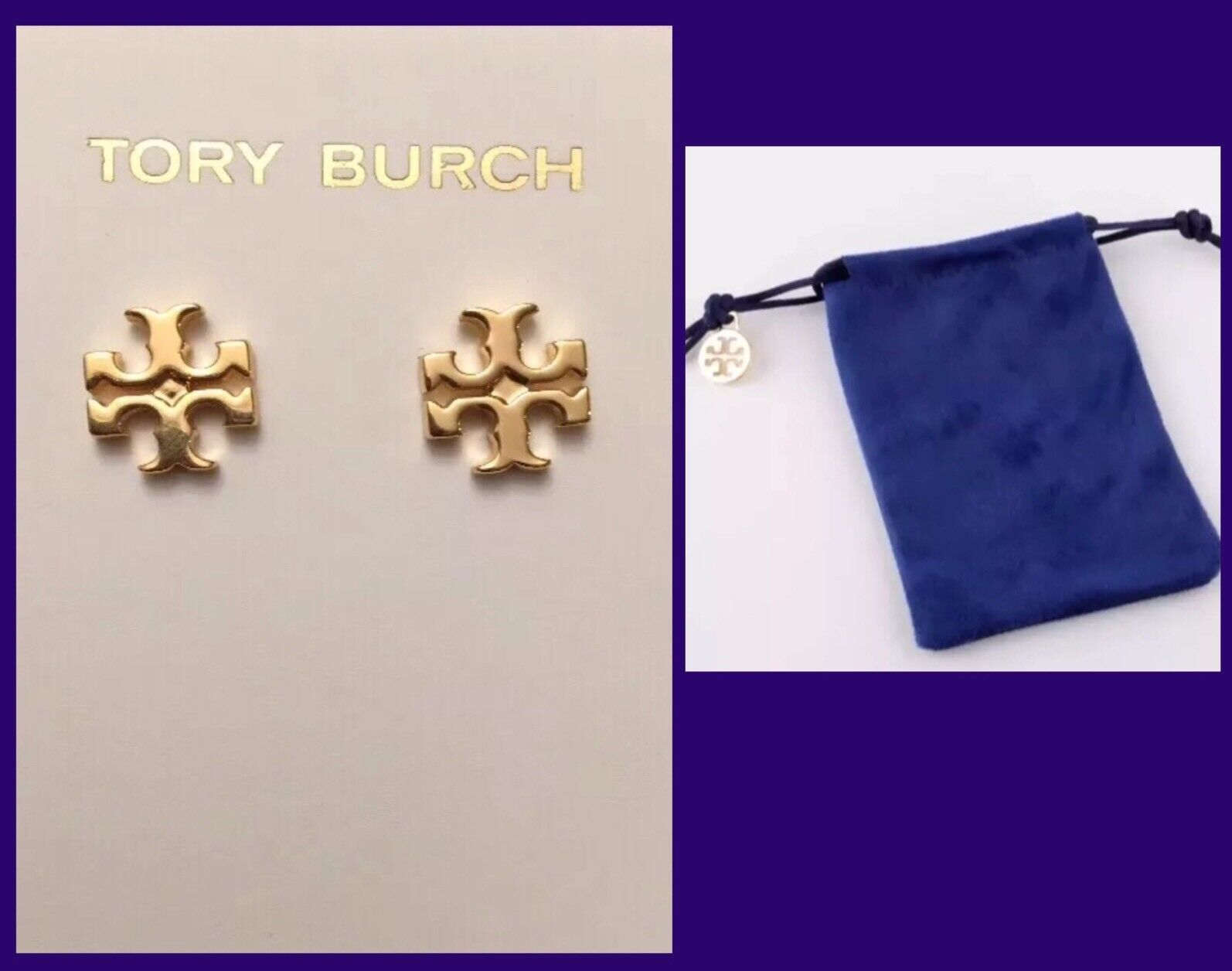 AUTHENTIC TORY BURCH LOGO STUD EARRINGS-SHINY gold W TB POUCH -RV  75-NEW