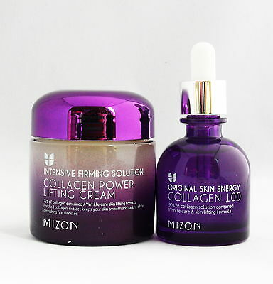 Mizon Collagen Power Lifting Cream + Collagen 100 Ampule Serum Free Shipping