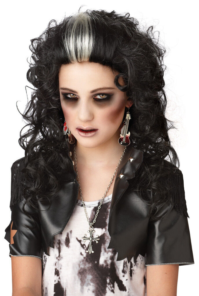 Rocked Out Zombie Gothic Punk Halloween Costume Wig Black