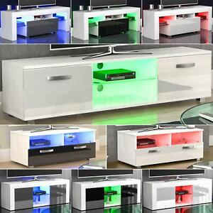 Modern White TV Unit Cabinet Stand Matt body and High Gloss Doors LED Lights