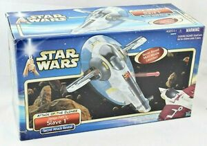Star Wars - Jango Fett's Sklave 1 Vehicle + Rakete & Bomben Hasbro 2001 Misb