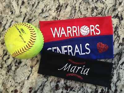 CUSTOM PERSONALIZED EMBROIDERED TEAM NAME HEADBAND SOCCER Volleyball Softball
