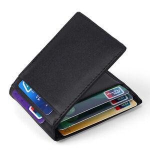 100-Genuine-Leather-Men-039-s-Bifold-Wallet-RFID-Blocking-ID-Card-Holder-Money-Clip